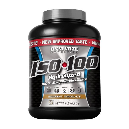 Dymatize Nutrition ISO 100 hydrolysée 100% Whey Protein Isolate, Gourmet Chocolat, trois livres