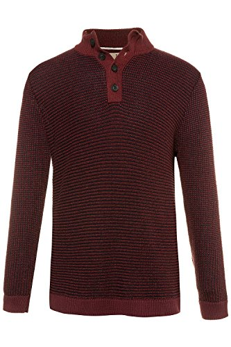 JP 1880 Men's Big & Tall 4 Button Ribbed Cotton Troyer Dark red XX-Large 711363 50
