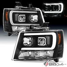 2007-2014 Suburban/Tahoe Black Projector Headlights w/DRL-Light-Tube Built-In 2008 2009 2010 2011 2012 2013 Pair L+R