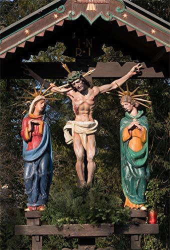 Leyiyi 6x9ft Jesus Christmas Statue on Cross Backdrop Santa Maria Sculpture Rustic Wooden Barn Pavillon Wild Woodland Photography Background Happy New Year Xmas Photo Studio Prop Vinyl Wallpaper