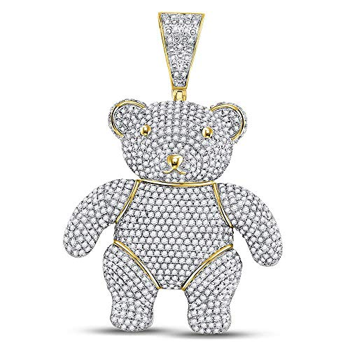 (Dazzlingrock Collection 10kt Yellow Gold Mens Round Diamond Teddy Bear Charm Pendant 3-1/5)