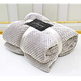 AmigoZone Popcorn Throw Fleece Blanket Sofa Bed Large Soft Warm (Double, Silver)