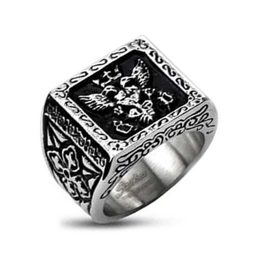 Stainless Steel Centered Royal Empire Shield & Pattern Design on Side View of Biker Ring (Width 11.5MM) – Crazy2Shop