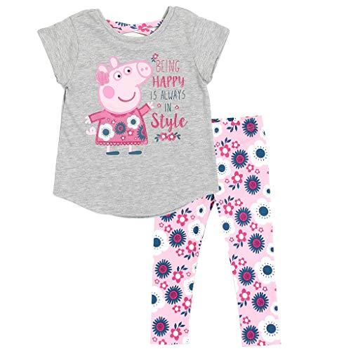 Peppa Pig Little Girls' Toddler Criss Cross Top and Leggings Set, Gray (2T)]()