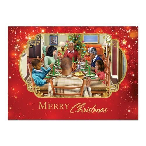 """: African American Expressions - Family Christmas Dinner/ Merry Christmas Boxed Christmas Cards (15 cards, 5"""" x 7"""") C-939"""
