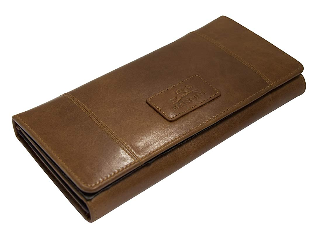Mancini Ladies RFID Secure Trifold Leather Wallet