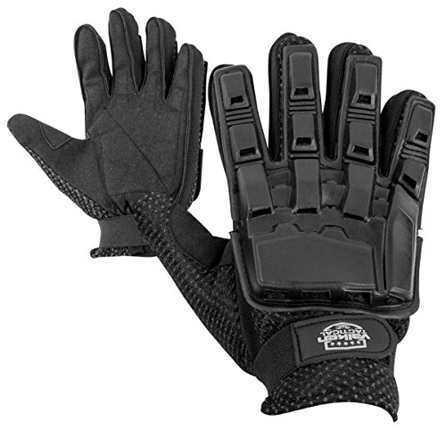 Valken Full Finger Plastic Back Gloves, Black, Large