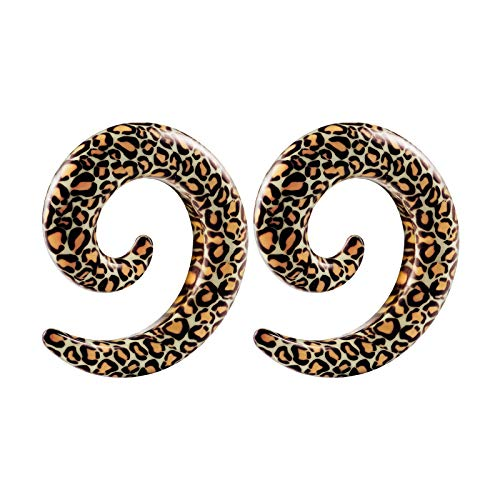 BIG GAUGES Pair of Acrylic 00 g 10 mm Spiral Coil Taper Snake Skin Design Piercing Jewelry Earring Piercing Stretching Ear Plugs BG1676 (Plug Design Ear)