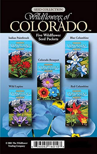 Colorado Wildflower 5 Seed Packet Gift Box Assortment Package- Includes Indian Paintbrush, Blue Columbine, Bouquet, Wild Iris, Red Columbine- Enjoy Colorado Wild Flowers in Your Own Home Garden