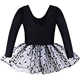 Kids Girl Dance Dress Ballet Tutus 2-7 Years (3-4, Black Long Sleeve)