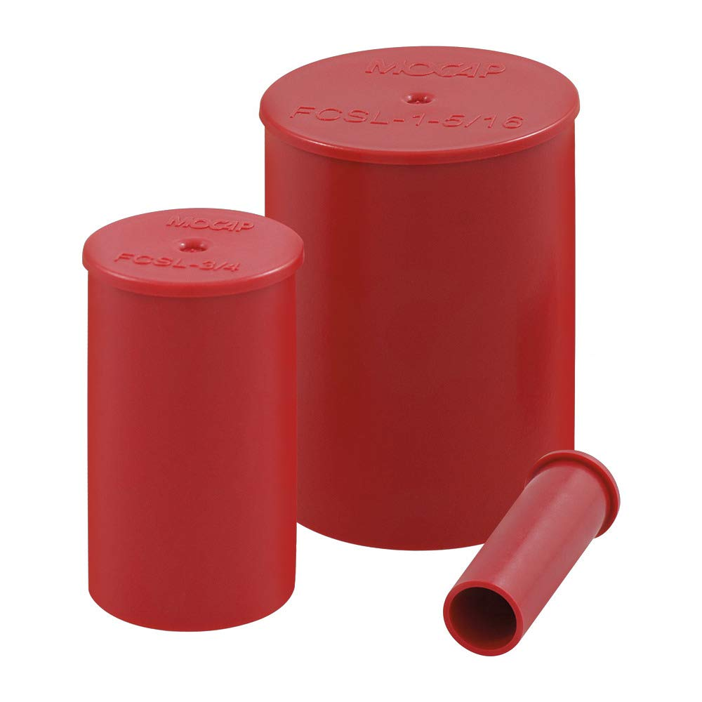 Long Flanged Caps for Straight Threads Flange Cap Long for 0.375'' (3/8'') Straight Threads LDPE Red MOCAP FCSL3/8RD1 (qty100)