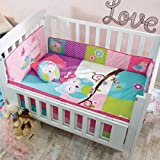 TOP SELLER DOROTY OWL BABY GIRLS COMFORTER,BUMPER,HEAD PAD,FITTED SHEET,PILLOWCASES AND DECORATIVE TOSSPILLOWS CRIB BEDDING SET 6 PCS