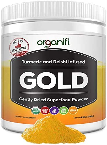 Organifi: Gold - Superfood Supplement Powder - 30 Servings - Deep Sleep, Immunity and Cognitive Function Support - Turmeric and Reishi Infused