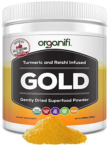 Organifi: Gold - Superfood Supplement Powder - 30 Day Supply - Experience Deeper Sleep- Boosts Immune System and Cognitive Function - Turmeric and Reishi Infused - Golden Milk - Detox
