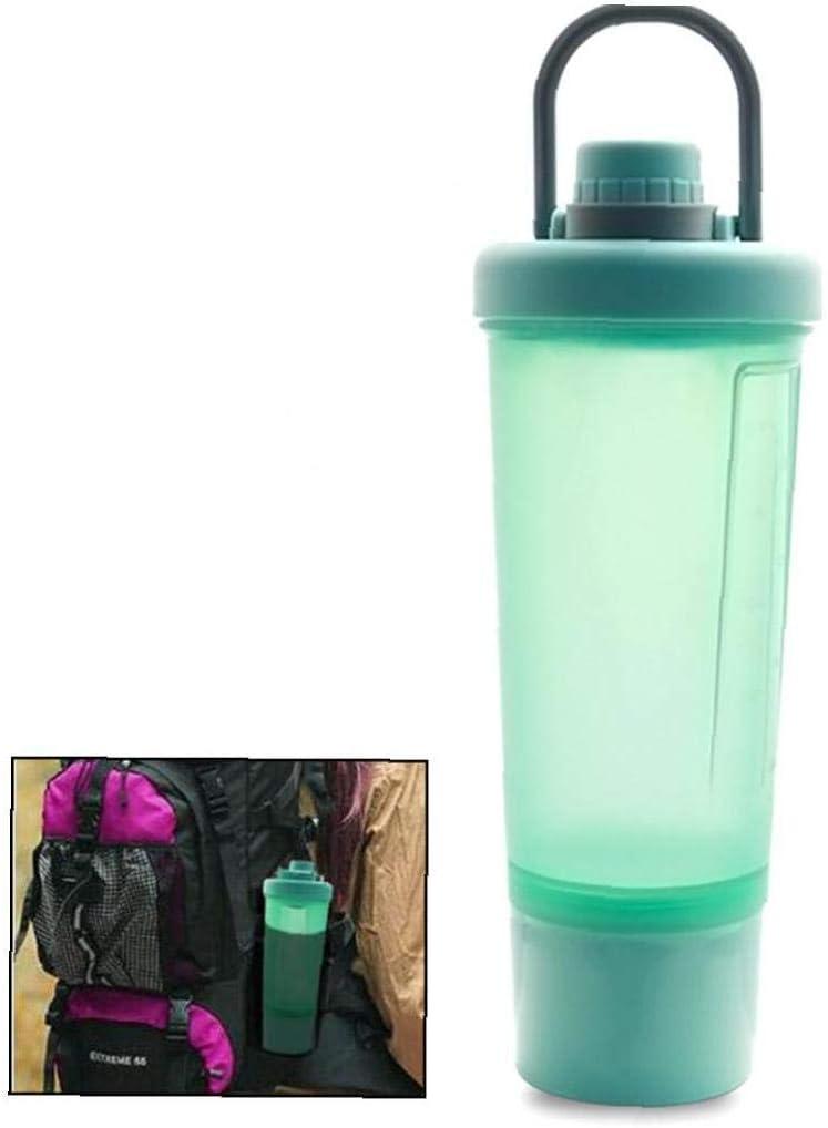 iHOMIKI Botella 1pc de la coctelera de Deportes acuáticos con proteína Botella agitación Bola de la Aptitud del Agua Licuado nutritivo en Polvo Fluorescente Verde botella-600ml