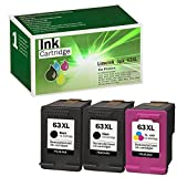 Limeink 3 Remanufactured Ink Cartridge 63XL 63 XL High Yield for Envy 4512 4520 Deskjet 3632 2130 2132 1110 1111 3636 3637 1112 3630 3634 OfficeJet 3830 3833 4650 4652 4655 Printer Black and Color