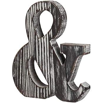 MyGift Wood Ampersand Wall Decor/Freestanding Monogram