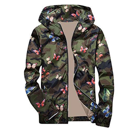 KFSO Camouflage Bomber Jacket Men Hip Hop Slim Fit Butterfly Bomber Jacket Coat Men's Hooded Jackets (Green, XL)