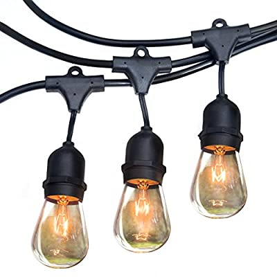 Royal Light Outdoor String Lights (48ft) The Perfect Solution for Patio, Yard, Deck lights or other Outdoor Light, Commercial Grade,15 Long-Life outdoor-string-light Bulbs, plus 2BONUSES-(Black)