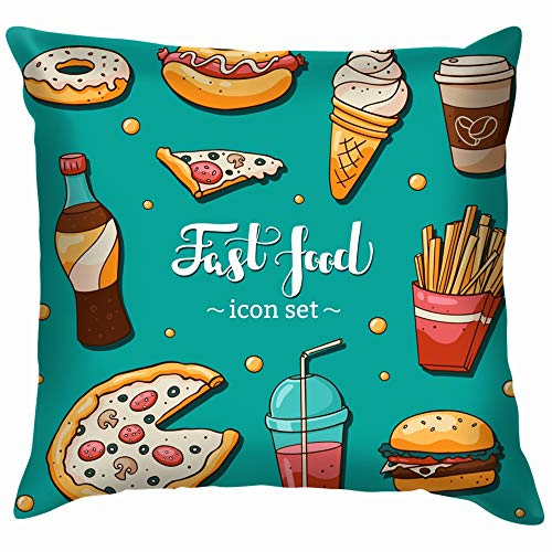 Fast Food Icons Set Collection and Drink American Pillow Case Throw Pillow Cover Square Cushion Cover 12X12 Inch]()