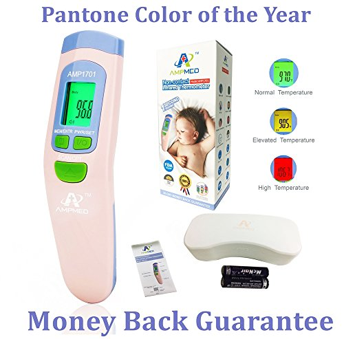 Amplim Digital Infrared Clinical Baby Forehead Thermometer + Case: Professional Medical Grade, Non-Contact/No Touch, FDA & CE Approved. New July 2017