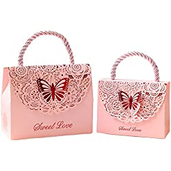 Kxtffeect 20Pcs Laser Cut Flower Wedding Favor Boxes, Favors Butterfly Gift Bags for Party Birthday Baby Shower (Pink, Large)