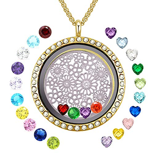 YOUFENG Floating Living Memory Locket Pendant Necklace Family Tree of Life Birthstone Necklaces (Gold Polished Locket) (Memory Locket Necklace)