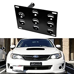 iJDMTOY JDM Style Front Bumper Tow Hole Adapter License Plate Mounting Bracket For 2008-2014 3rd Gen Subaru WRX and WRX STi