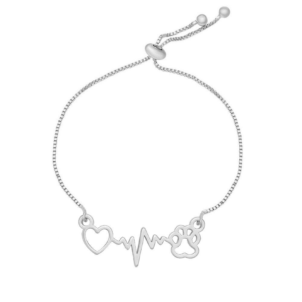 MANZHEN Heart Dog Paw Print With Heartbeat ECG Adjustable Chain Bracelet (silver)