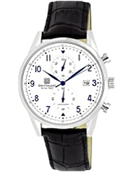 Steinhausen Mens S0920 Lugano Chronograph Stainless Steel and Black Leather Dress Watch