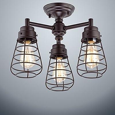 Dazhuan Vintage Metal Cage 3-Lights Chandelier Semi Flush Mount Ceiling Light Lamp
