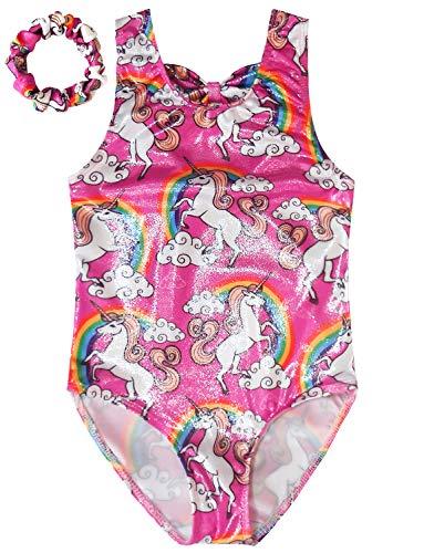 (Gymnastics Leotards For Girls Unicorn Biketards Sparkly Spliced Pink Outfits)