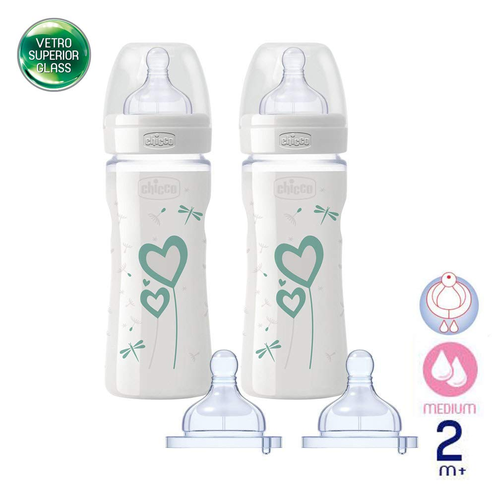 /& 2/m//2x 240/ml//Includes 4/Silicone Teat//Made in Italy Chicco Glass Bottle Set//Baby Bottle Well Being//Superior Glass//Mama Effect Silicone Teat 0/M