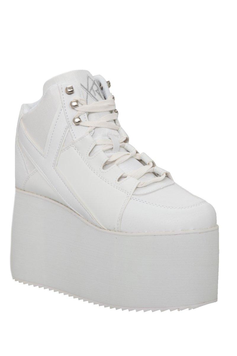 YRU Qozmo Hi-White Platform Sneakers