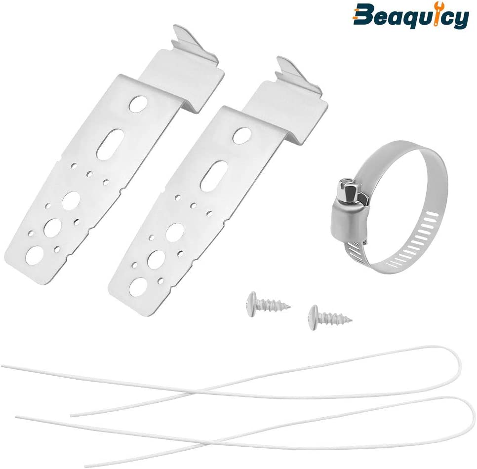 5001DD4001A Dishwasher Mounting Bracket Kit by Beaquicy - Replacement for LG Dishwasher - This kit includes 2 mounting brackets,2 wires,2 screws,a hose clamp, and instruction sheet