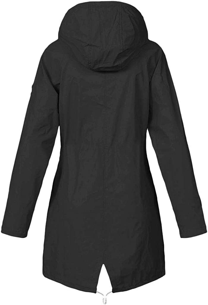 Womens Rain Jackets Waterproof with Hood Lined Lightweight Plus Size Outdoor Hiking Long Raincoats 51dMi12keRL