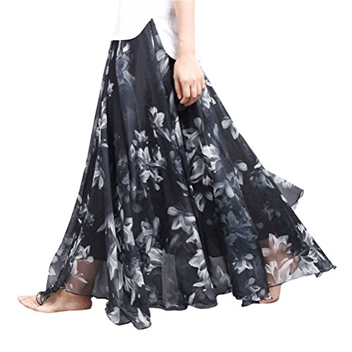 Ezcosplay Women Summer Floral Print Retro Maxi Chiffon Bohemian Flowy Long Skirt supplier