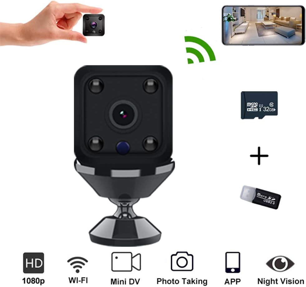 Mini Wireless Hidden Spy Camera Portable Small WiFi HD 1080P Cam with APP Night Vision Spy Remote Security Pet Baby Motion Detection Camera Covert Nanny Cam Indoor Video Recorder for Home and Office