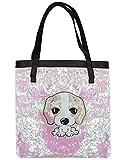 RARITY-US Women Sequin Shoulder Bag Cute Dog Large Capacity Travel Shopping Tote Bag