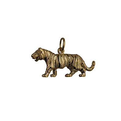 9ct Gold 12x27mm Tiger Pendant or Charm HO4Ah5dr
