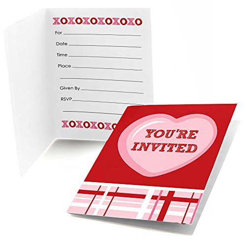 (Big Dot of Happiness Conversation Hearts - Fill in Valentine's Day Party Invitations (8)
