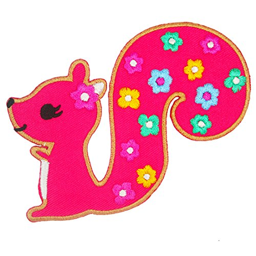 Cute Squirrel Iron on Embroidered Patches / Pink (Squirrel On Iron)