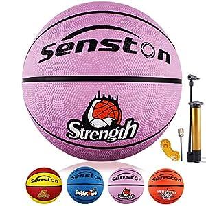 Senston Ballon de Basket-Ball Basketball Taille 5 Caoutchouc Doux et Bouncy Basketball Extérieur et intérieur 2