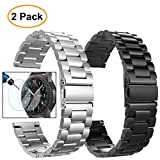 Gear S3 Frontier/Classic Watch Bands, 22mm Solid Stainless Steel Metal Replacement Smart Watch Strap Business Bracelet + Tempered Glass for Samsung Gear S3 Frontier/s3 Classic Sport Smart Watch