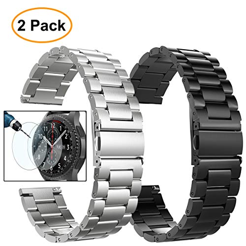 Gear S3 Frontier/Classic Watch Bands, 22mm Solid Stainless Steel Metal Replacement Smart Watch Strap Business Bracelet + Tempered Glass for Samsung Gear S3 Frontier / s3 Classic Sport Smart Watch