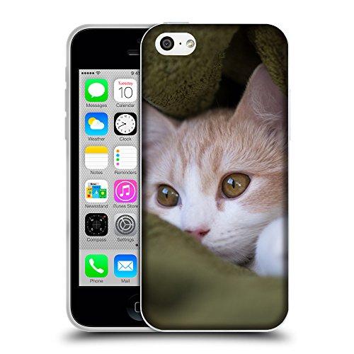 Just Phone Cases Coque de Protection TPU Silicone Case pour // V00004262 chaton Beige cache dans une couverture // Apple iPhone 5C