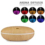 1byone 350ml Aromatherapy Essential Oil Diffuser, Ultrasonic Cool Mist Aroma Humidifier with 7 Color LED Lights and Waterless Auto Shut-off - Wood Grain