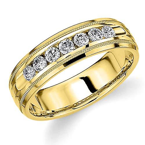 Men's .50ct Grooved Milgrain Diamond Ring in 14K Yellow Gold - Finger Size 9