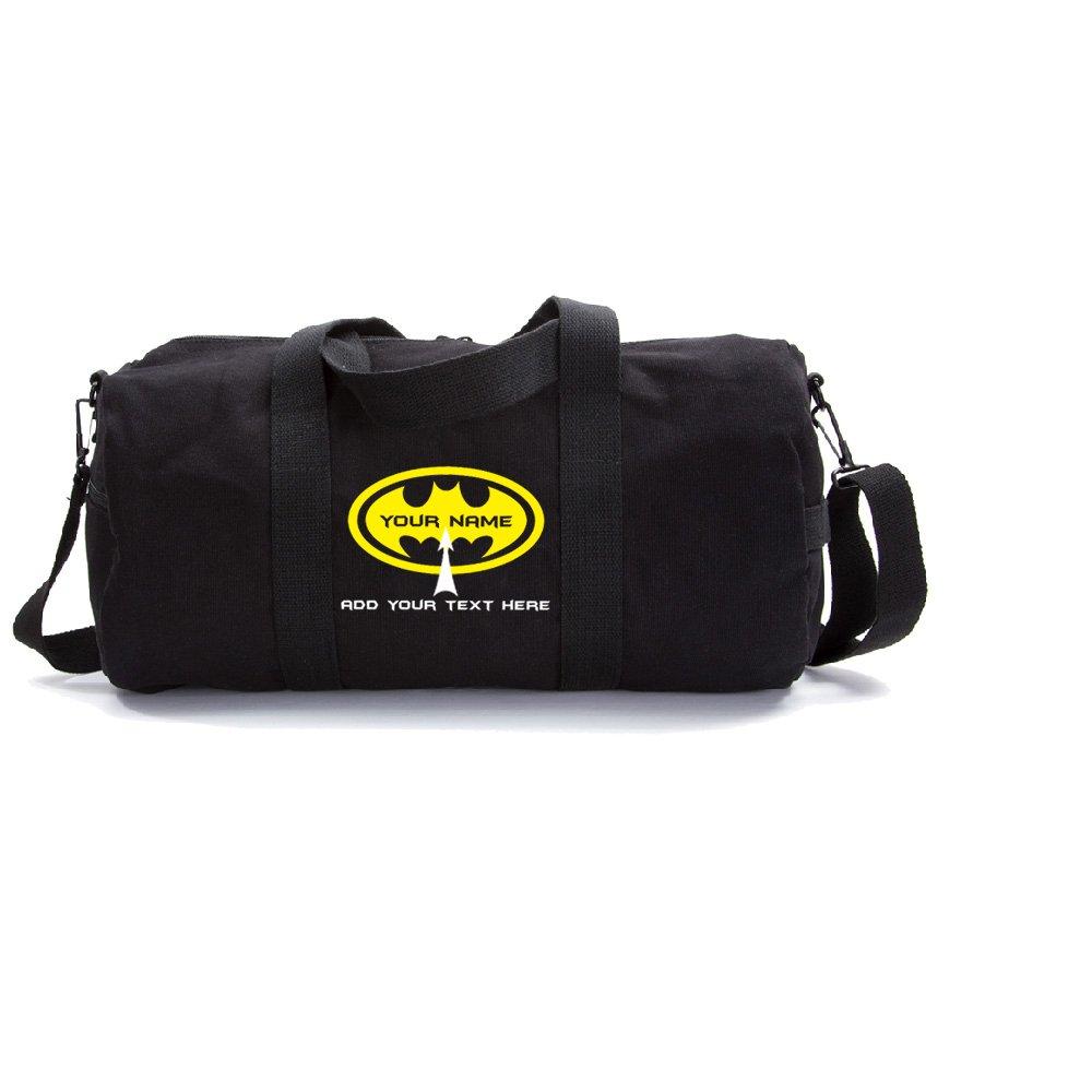 Personalized Custom Batman Heavyweight Canvas Duffel Bag, Black & Yellow (Large)
