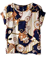 VOBAGA® Women's Bird Heart Geometric Print Short Sleeve Chiffon Top T-shirt Blouses